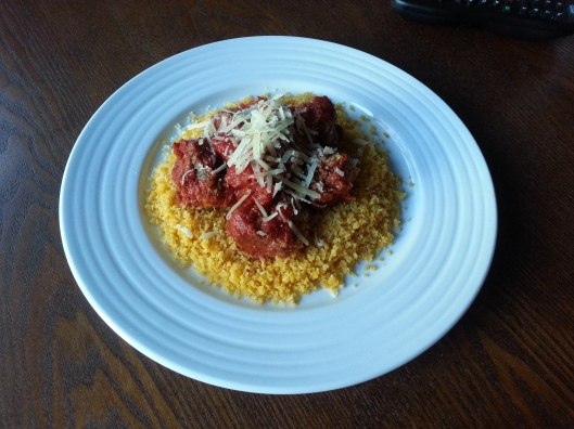 The Final Product - Meatballs and Corn Cous Cous